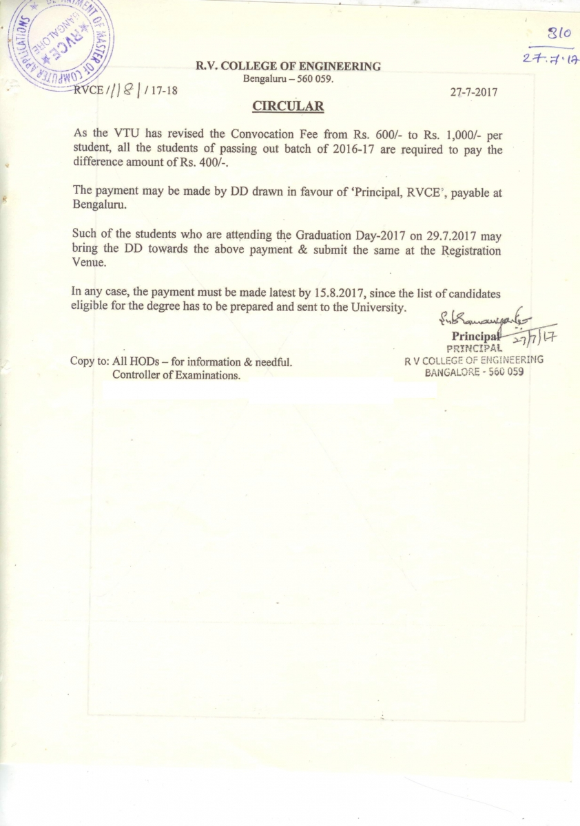 R v college of engineering vtu revised the convocation fee 2017 yadclub Gallery